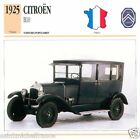 CITROËN B10 1925 CAR VOITURE FRANCE CARTE CARD FICHE