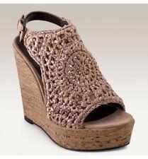 Elizabeth & James Halo Shoes - Crochet Cork Wedge Platform sz 7.5