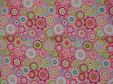 cotton fabric quilting sewing pink green blue paisley flowers size 50cms x 50cms