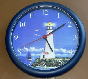 """10"""" Round Stylistic Sound Clock Lighthouse Ocean Sound On Every Hour!"""