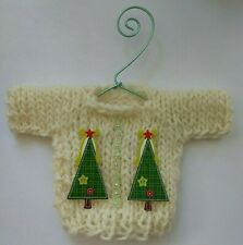 Cream colored  Islandic Wool MINI   Christmas Sweater   Ornament Style D