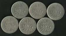 Lot 6 X 1 Franc Semeuse 1960 Grand 0 ; 1962 ; 1965 Petite Chouette ; 1967