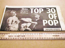 THE SUN TOP 30 OF POP FOUR PAGE PULLOUT 1974 STARS OF THE 70S ORIGINAL RARE ITEM