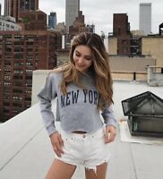 brandy melville heather gray crop crewneck Nancy New York graphic sweatshirt NWT