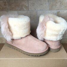 UGG Classic Mini Wisp Fur Cuff Arroyo Suede Sheepskin Ankle Boots Size 10 Womens