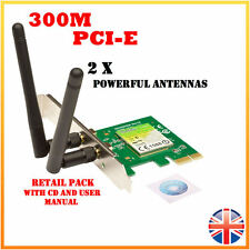 300Mbps Wireless N PCI-E PCIe Network Card LAN Adapter PC Desktop - 2 x Antennae
