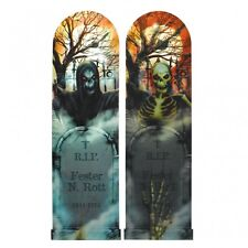 Tombstone & Skeleton Lenticular Sign 94cm Holographic Halloween Party Decoration