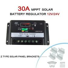 30A MPPT Solar Panel Charge Controller 12V 24V Battery Regulator + Z Brackets MT