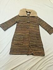 6f12bee127567 Charlie & Robin M Knit Sweater Coat Taupe Tan Gray Removable Collar 3/4  Sleeve
