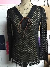 NWT - Boutique Style Black Lace Top with Tie and Bell Sleeves - Size Medium