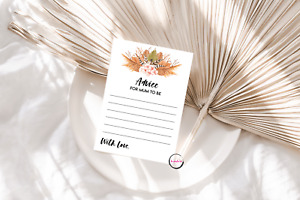 Baby Shower Game - 10 x BABY ADVICE CARDS - 14X10CM BABY UNISEX BOHO FLORAL