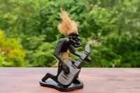 Wooden Hand Carved Primitive Tribal Guitarist Tiki Statue Bar Guitar Figurine -C