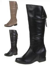 Markenlose wadenhohe Damen-Stiefel mit hohem Absatz (5-8 cm)