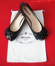 New Prada Bow Logo Low Heel Black Leather Pump Shoes Size 36.5 / US 6 - Italy