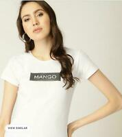 Mango Women Girl White ROUND Neck Short Sleeve Cotton T Shirt Top Tee 8 10 12 14