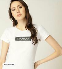 Mango Women Girl White ROUND Neck Short Sleeve Cotton T Shirt Top Tee 8 10 12 14