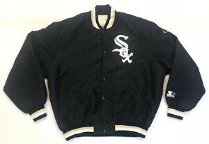 Vintage Starter MLB Chicago White Sox Satin Bomber Jacket L Black USA