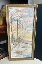 Vintage Art Painting Winter Trees - Signed- In Original Wood frame  1940's 12x6