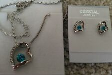 Silver blue Fashion Crystal Pendant Necklace Earrings  heart Set nickel free
