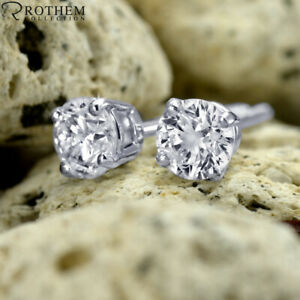 2.10 CT Solitaire Diamond Earrings White Gold Stud ctw I3 £4,400 03251679