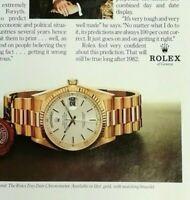 Rolex de Ginebra Estampado Anuncio Anuncio Original Vintage 1980 359EA