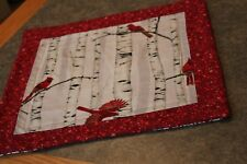 Red Stars Cardinals Birch 14 1/2 X 14 1/2  Handmade Quilted Table Topper Runner