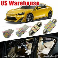 4-pc Luxury White LED Lights Interior Package Dome Kit  for Scion FRS 2013-2016