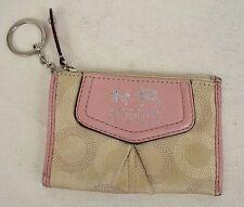 Coach Madison Mini Skinny Card Key Chain Wallet Rose Pink