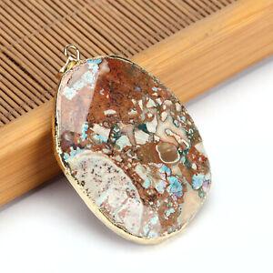 Handmade 100% Genuine Huge Ocean Jasper Gemstone Solid Silver Necklace Pendants