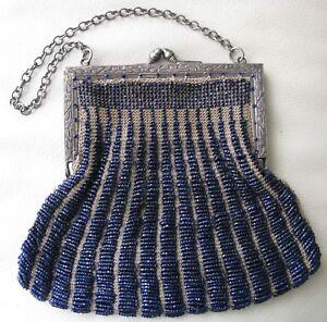 Antique Silver T Floral Frame Tan Crochet Knitted Cobalt Blue Bead Flapper Purse
