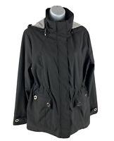 Weatherproof Women's Medium M Jacket Black Light Weight Zip Up Detachable Hoodie