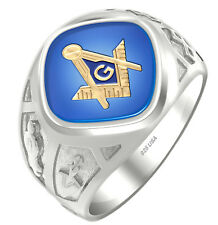 Men's 0.925 Two Tone Sterling Silver or Vermeil Masonic Freemason Mason Ring