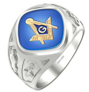 Men's 0.925 Two Tone Sterling Silver or Vermeil Masonic Freemason Mason Ring