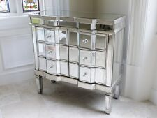 VENETIAN MIRRORED CHEST OF 6 DRAWERS WITH ANTIQUE STYLE WOOD TRIM
