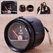 "New 2""/52mm 12V Motorcycle Fuel Level Gauge Meter E-1/2-F Pointer Black Face Rim"