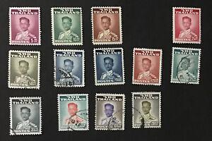 Thailand 1951-60 VF MH & Used Sc#283-95 Missing 20s Cv$48.  (W21)