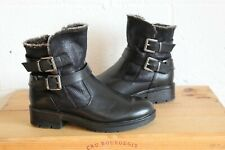 FAUX LEATHER FAUX SUEDE ANKLE BIKER BOOTS SIZE 4 / 37 GOOD WORN CONDITION