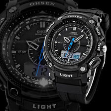 OHSEN Waterproof Digital LCD Day Alarm Mens Military Sport Rubber Watch  NP