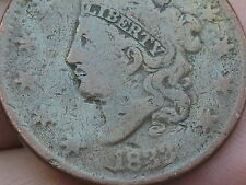 1833 Matron Head Large Cent Penny, Rotated Reverse, VG Details