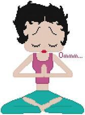 CROSS STITCH+ CRAFT PATTERN Betty Boop Yoga Meditation Legs Crossed Om Buddha
