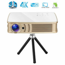 New Portable Home Theater Projector 3D DLP 4K UHD HDMI 1080P Wifi LAN Battery