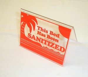 "This Bed Has Been Sanitized Acrylic Tent Sign 3.5 x 4.5"" Orange"