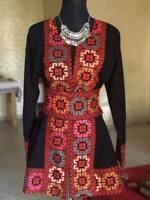 Black Short Open Jacket with Stylish Embroidery Palestinian Jordanian Heritage