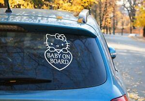 Baby on board sign customise Vinyl Sticker Car Window Hello Kitty heart 9 Colour