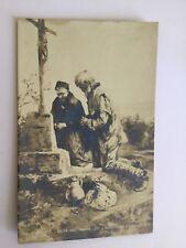 CPA Vieillards près d'une tombe «L'anniversaire» - Michel Levi - Salon 1901