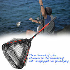 Portable Triangular Brail Folding Fishing Net Landing Net with Pole Rod GH