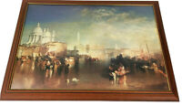 Vintage Print Picture River Scene Italy Venice Town Skyline and Boats Framed