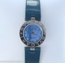 $1,500 Ladies Bvlgari Stainless Steel B.Zero1 Blue Mother Of Pearl Leather Watch