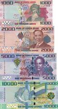 Sierra Leone 4 Note Set: 1000 to 10000 Leones (2010) - p30,p31,p32,p33 UNC