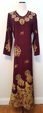 Deep Plum Purple Embroidered India Maxi Dress Free Size